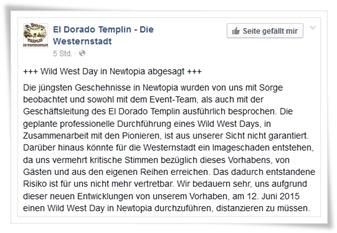 eldorado sagt western event ab